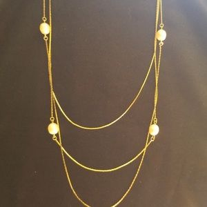 Monet goldtone and faux pearl necklace